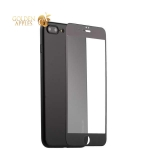 Супертонкий силиконовый чехол-накладка для iPhone 7 Plus Coblue Slim Series PP Case & Glass (2в1), цвет черный