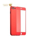 Супертонкий силиконовый чехол-накладка для iPhone 8 Plus Coblue Slim Series PP Case & Glass (2в1), цвет красный