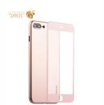 Супертонкий силиконовый чехол-накладка для iPhone 8 Plus Coblue Slim Series PP Case & Glass (2в1), цвет розовый