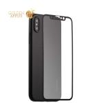 Супертонкий силиконовый чехол-накладка для iPhone XS Coblue Slim Series PP Case & Glass (2в1), цвет черный