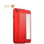 Чехол-накладка карбоновая Coblue 4D Glass & Carbon Case (2в1) для iPhone SE (2020г.) Красный