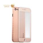 Пластиковый чехол-накладка для iPhone 7 Coblue 4D Glass & Carbon Case (2в1), цвет розовый