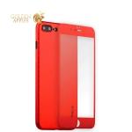 Пластиковый чехол-накладка для iPhone 7 Plus Coblue 4D Glass & Carbon Case (2в1), цвет красный