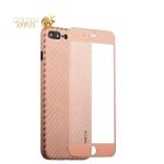 Пластиковый чехол-накладка для iPhone 7 Plus Coblue 4D Glass & Carbon Case (2в1), цвет розовый