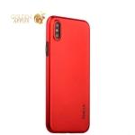 Супертонкий силиконовый чехол-накладка для iPhone XS Coblue Slim Series PP Case & Glass (2в1), цвет красный