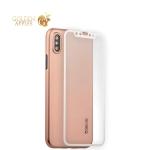 Супертонкий силиконовый чехол-накладка для iPhone XS Coblue Slim Series PP Case & Glass (2в1), цвет розовый