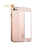 Супертонкий силиконовый чехол-накладка для iPhone 7 Coblue Slim Series PP Case & Glass (2в1), цвет розовый