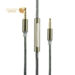 AUX кабель с микрофоном (3.5 мм) COTEetCI S3 Nylon Audio line with Mic (CS5059-GY) (1.5 м), цвет графитовый