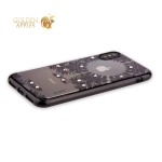 Силиконовый чехол-накладка iPhone XS Beckberg Monsoon series со стразами Swarovski (вид 1), цвет черный