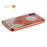 Силиконовый чехол-накладка iPhone XS Beckberg Monsoon series со стразами Swarovski (вид 2), цвет розовое золото