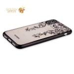 Силиконовый чехол-накладка iPhone XS Beckberg Monsoon series со стразами Swarovski (вид 3), цвет черный