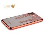 Силиконовый чехол-накладка iPhone XS Beckberg Monsoon series со стразами Swarovski (вид 3), цвет розовое золото