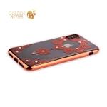 Силиконовый чехол-накладка iPhone XS Beckberg Monsoon series со стразами Swarovski (вид 4), цвет розовое золото