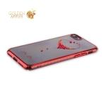 Пластиковый чехол-накладка для iPhone 8 KINGXBAR со стразами Swarovski 49F, цвет красный Сердце