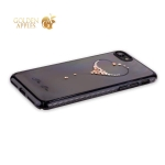 Пластиковый чехол-накладка для iPhone 7 KINGXBAR со стразами Swarovski 49F, цвет черный Сердце