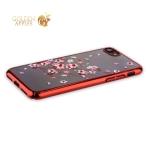 Пластиковый чехол-накладка для iPhone 8 KINGXBAR со стразами Swarovski 49F, цвет красный Веточка