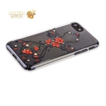 Пластиковый чехол-накладка для iPhone 7 KINGXBAR со стразами Swarovski 49F, цвет черный Феникс