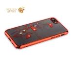 Пластиковый чехол-накладка для iPhone 7 KINGXBAR со стразами Swarovski 49F, цвет красный Калла