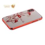 Пластиковый чехол-накладка для iPhone XS Kingxbar со стразами Swarovski 49F, цвет красный Калла