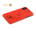 Кожаный чехол накладка для iPhone XS Santa Barbara Polo & Racquet Club Knight Series, цвет красный