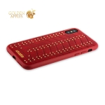 Кожаный чехол-накладка для iPhone XS Santa Barbara Polo & Racquet Club Armor Series, цвет красный