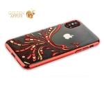 Пластиковый чехол-накладка для iPhone XS Kingxbar со стразами Swarovski 49F, цвет красный Полет