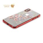 Пластиковый чехол-накладка для iPhone XS Kingxbar со стразами Swarovski 49F, цвет красный Веточка