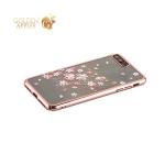 Пластиковый чехол накладка для iPhone 8 Plus Kingxbar со стразами Swarovski 49D, цвет розовое золото Веточка