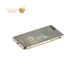 Пластиковый чехол накладка для iPhone 7 Plus Kingxbar со стразами Swarovski 49D, цвет золотистый Перо 1