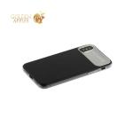 Силиконовый чехол накладка для iPhone X Baseus WIAPIPHX-QF01 Slim Lotus Case с матовой пластиковой вставкой, цвет черный