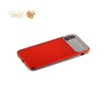Силиконовый чехол накладка для iPhone X Baseus WIAPIPHX-QF09 Slim Lotus Case с матовой пластиковой вставкой, цвет красный