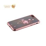Пластиковый чехол накладка для iPhone 8 со стразами Swarovski 49D, цвет розовое золото Нефритовая Шпилька