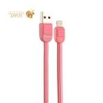 USB дата-кабель Remax Puff (RC-045i) LIGHTNING 2.0A плоский (1.0 м) Розовый