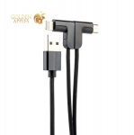 USB дата-кабель Hoco X12 One Pull Two L Shape Magnetic Adsorption Cable 2в1 Lightning&microUSB (1.2м) Black