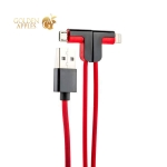 USB дата-кабель Hoco X12 One Pull Two L Shape Magnetic Adsorption Cable 2в1 Lightning&microUSB (1.2м) Red