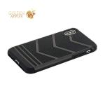 Накладка противоударная для iPhone X черный пластик-черный силикон