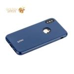 Чехол-накладка силиконовый Cherry матовый 0.4mm & пленка для iPhone XS Синий