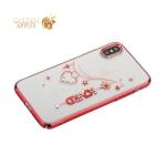 Чехол-накладка Kingxbar для iPhone X пластик со стразами Swarovski 49Z красный (Love)