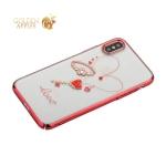 Чехол-накладка Kingxbar для iPhone XS пластик со стразами Swarovski 49Z красный (Cordial Love)