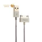USB дата-кабель Deppa D-72118 витой 30-pin для iPad 3/ iPad 2/ iPad/ iPhone 4s/ 4/ 3G/ 3Gs/ iPod 1.5м Белый