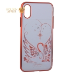 Чехол-накладка Kingxbar для iPhone X пластик со стразами Swarovski 49F Лебединая Любовь красный