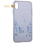 Чехол-накладка Kingxbar для iPhone XS Max пластик со стразами Swarovski 49F Лебединая Любовь серебристый