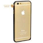 Алюминиевый бампер для iPhone 6S / 6 Fashion Case, цвет черный с золотистый полоской