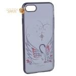 Чехол-накладка Kingxbar для iPhone 8 пластик со стразами Swarovski 49F Лебединая Любовь черный