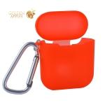 Чехол силиконовый COTEetCI (AP3) для AirPods с карабином CS8113-TR TPU Case Полупрозрачно-красный