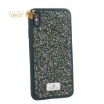 Чехол-накладка силиконовая со стразами SWAROVSKI Crystalline для iPhone XS Max (6.5) Темно-зеленый