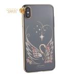 Чехол-накладка KINGXBAR для iPhone XS Max (6.5) пластик со стразами Swarovski 49F Лебединая Любовь золотистый