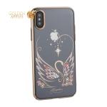 Чехол-накладка KINGXBAR для iPhone X пластик со стразами Swarovski 49F Лебединая Любовь золотистый