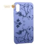 Чехол-накладка силиконовый Silicone Cover для iPhone XS Узор Сиреневый