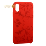 Чехол-накладка силиконовый Silicone Cover для iPhone XS (5.8) Узор Красный